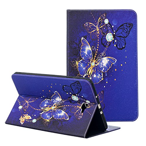 10.1 SM-T580 Case, ZAOX Slim Folding Stand Lovely Leather Cover with Card Slots Folio Wallet Case for Galaxy Tab A SM-T580/T585 Tablet 2016 Release 10.1 Inch (Gold Butterfly) ()