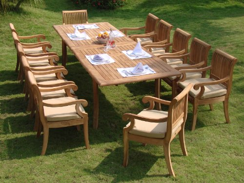 Giva 13 Pc Luxurious Grade-A Teak Dining Set – 117″ Double Extension Rectangle Table 12 Arm / Captain Chairs #TSDSGVn Review