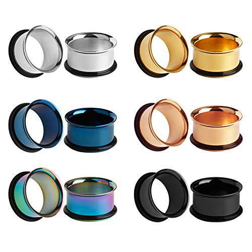 KUBOOZ 12pcs Set Colorful Stainless Steel O-Ring Ear Plugs Tunnels Gauges Stretcher Piercings 5/8