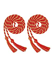 Volwco 2 Pieces Graduation Cords Polyester Yarn Honor Cord, Honor Cords, Graduation Cords, Honor Cord Tassels for Graduation Students, Red and Yellow Graduation Cord