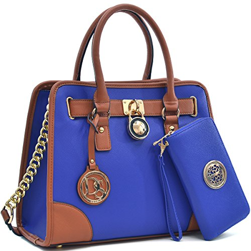 MMK collection Women Fashion Matching Satchel handbags with wallet(6900)~Designer Purse for Women ~Multi Pocket ~ Perfect Women Purse and wallet~ Beautiful Designer Handbag Set (XL-02-6892(02-168)BL) by Marco