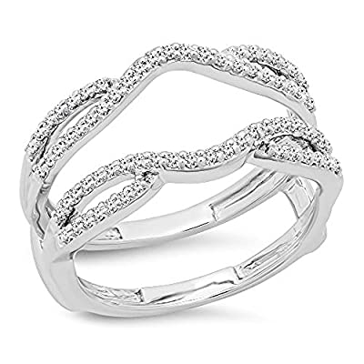 Dazzlingrock Collection 0.35 Carat (ctw) 10K White Gold Round Cut White Diamond Ladies Wedding Band Guard Double Ring 1/3 CT