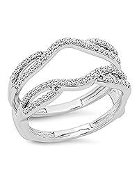0.35 Carat (ctw) 10K Gold Round White Diamond Ladies Wedding Band Enhancer Guard Double Ring 1/3 CT