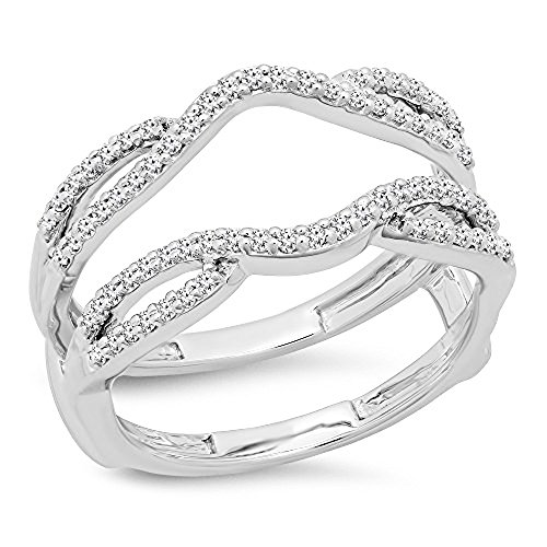 Dazzlingrock Collection 0.35 Carat (ctw) 10K Round Cut White Diamond Ladies Wedding Band Guard Double Ring 1/3 CT, White…