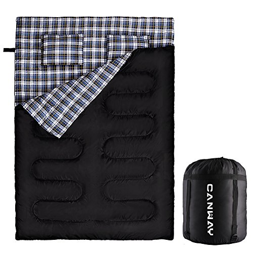 Double Sleeping Bag - Canway Flannel Sleeping Bags with 2 Pillows for Camping, Backpacking, or Hiking Outdoor. Cold Weather 2 Person Waterproof Sleeping Bag for Adults or Teens. Queen Size XL