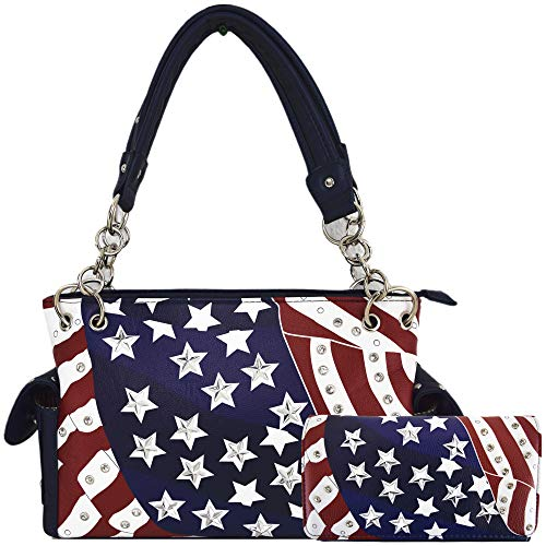 American Flag Stars and Stripes Concealed Carry Purse Women Studded Handbag Wallet Set Red White - Studded Flag