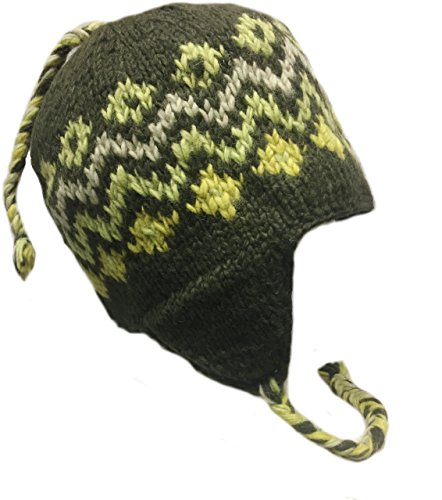 Nepal Hand Knit Sherpa Hat with Ear Flaps, Trapper Ski Wool Fleeced Lined (Waves)