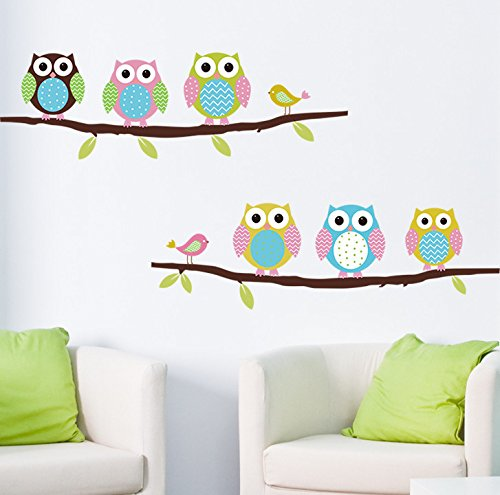 Ayutthaya shop Free shipping cartoon children's room bedroom wall painting decorative stickers cute owl animal wall decals living room, bedroom,