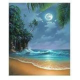 Blxecky 5D DIY Diamond Painting By Number Kits,Seaside Moon Beach(16X20inch/40X50CM)