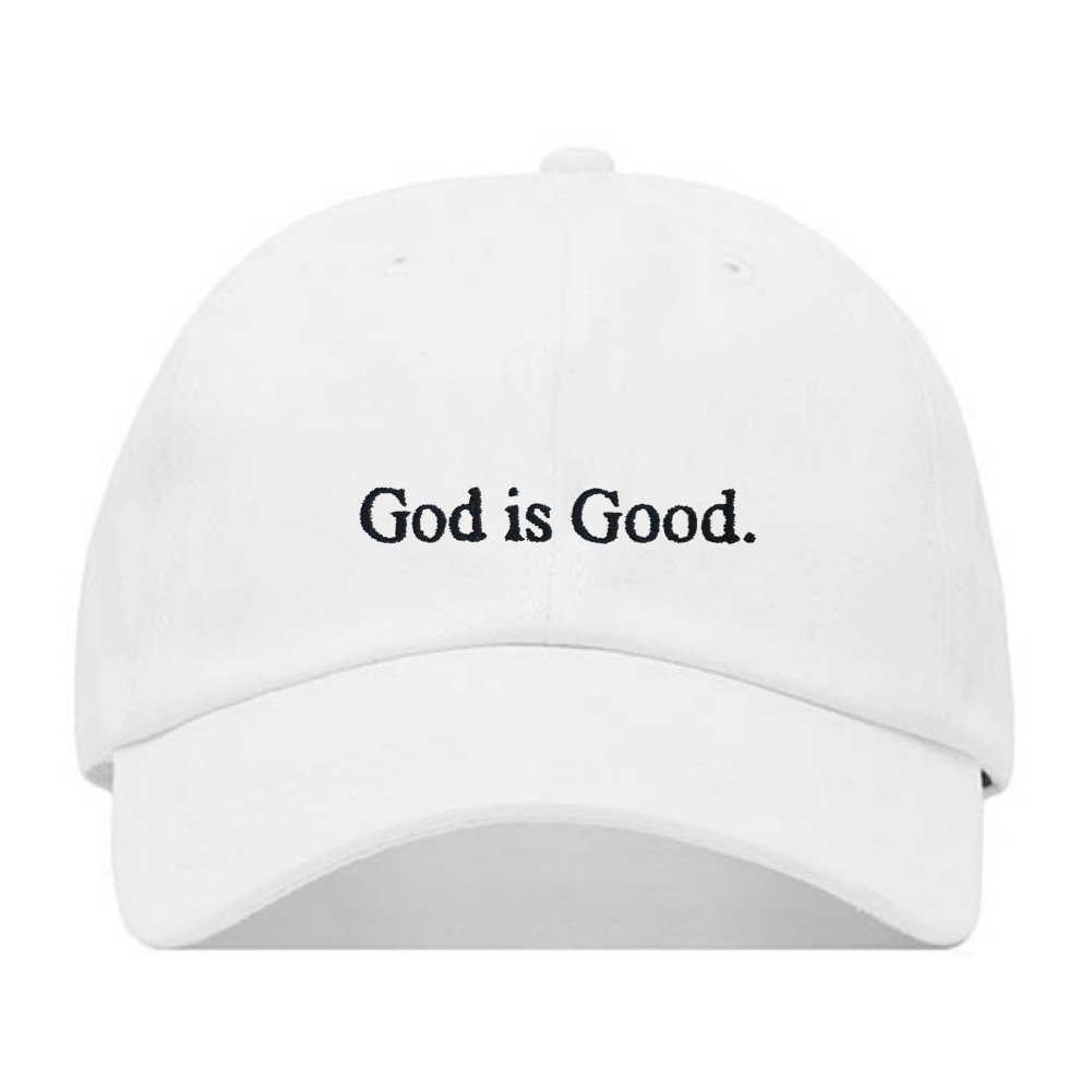 God is Good Dad Hat, Embroidered Baseball Cap, 100% Cotton, Unstructured Low Profile, Adjustable Strap Back, 6 Panel, One Size Fits Most (Multiple Colors) (White)