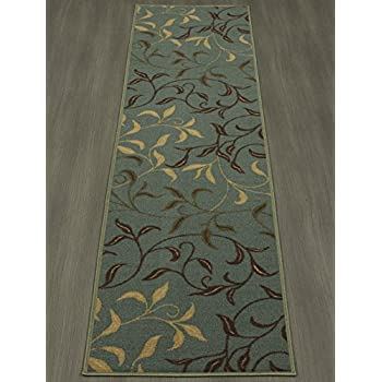 "Ottomanson Otto Home Contemporary Leaves Design Modern Area Rug Hallway Runner, 27"" X 910"", Sage Green/Aqua Blue"