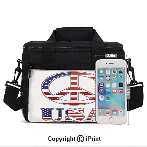 Insulated Lunch Bags For School With Bottle Holder Modern Peace Sign USA Flag Color Design Hippie Freedom No War Symbol Theme Decorative Kids Lunch Box Snacks Tote Lunch Containers 3D Print Violet Bl ()