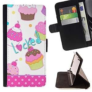SWEETS POLKA DOT LOCKED CUPCAKE PATTERN/ Personalizada del estilo del dise???¡Ào de la PU Caso de encargo del cuero del tir????n del soporte d - Cao - For HTC One M7