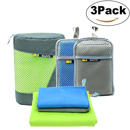 Microfiber Travel Towel Super Absorbent and Quick Dry Towel Antibacterial Towels - Best for Backpacking, Gym, Swimming, Camping, Hiking, Yoga or Bath Set 3 Pack (Green, Gray, Blue)