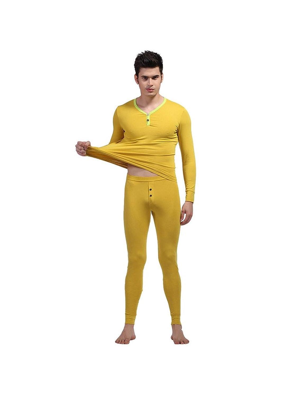 Zacoo Herren Thermowäsche Set(Hemd + Hose) Solide Farbe V-Neck Unterwäsche