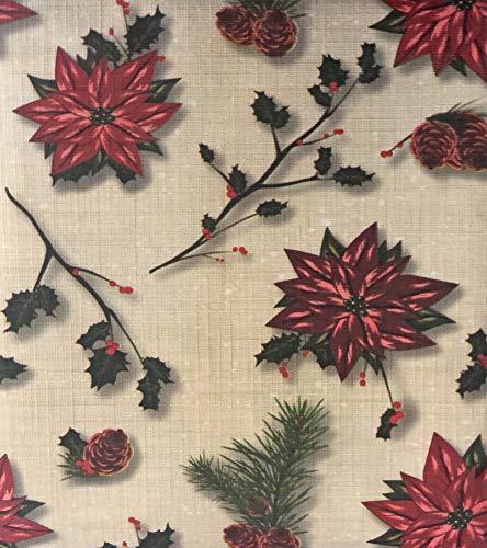 Lintex Poinsettia Pinecone PEVA Non Toxic, Non PVC Vinyl Rustic Christmas Tablecloth - PEVA Flannel Backed Holiday Tablecloth, 52 Inch x 70 Inch - Plastic Tablecloth Washable