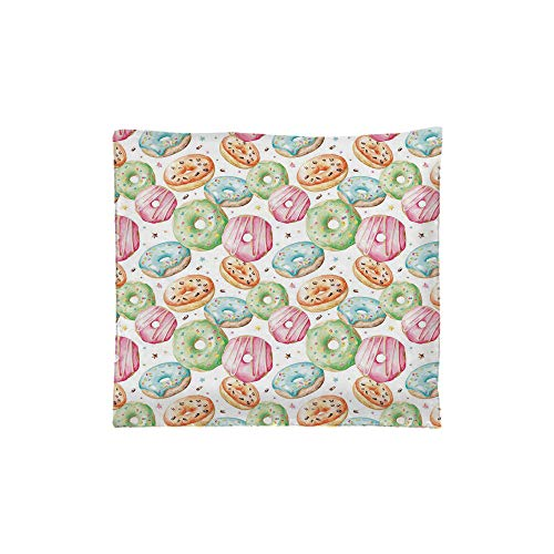 (Indoor/Outdoor Square Seat Cushion,Comfort Memory Foam Chair Pad,Watercolor,Sweet Delicious Donuts Pattern with Various Flavors Sprinkles Stars Background Decorative,Multicolor,Fit for most of ch)