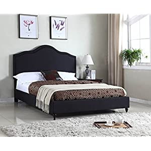 Home Life Cloth Black Linen 51″ Tall Headboard Platform Bed with Slats – Complete Bed 5 Year Warranty Included 009