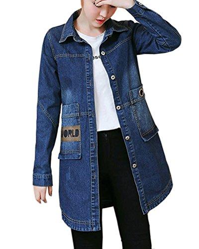 Tops Grand Taille Jacket Long Aeneontrue Manches Manteau Denim r6xwtrR