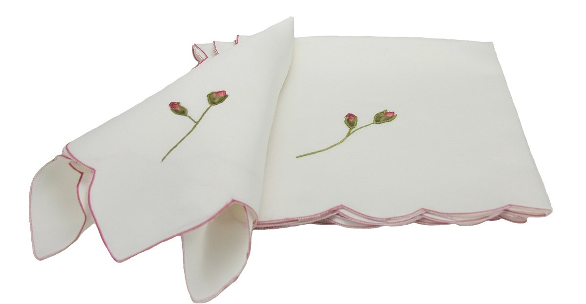 Xia Home Fashions Rose Bud Embroidered Spring Napkins, 21 by 21-Inch, Set of 4
