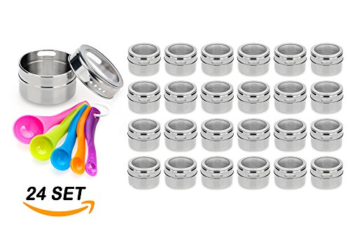 Stainless Steel Magnetic Spice Jars - Bonus Measuring Spoon Set - Airtight Kitchen Storage Containers - Stack on Fridge to Save Counter & Cupboard Space - 24pc Organizers (Stacking Tin)