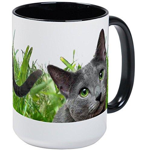 (CafePress - Russian Blue Cat Large Mug - Coffee Mug, Large 15 oz. White Coffee Cup)