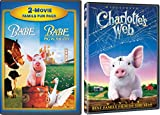 Charlotte's Web & Babe & Babe: Pig in the City - DVD 3 Movie Combo Family Pig kid fun set