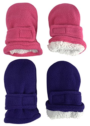 N'Ice Caps Little Kids and Baby Easy-On Sherpa Lined Fleece Mittens - 2 Pair Pack (6-18 Months, Purple/Fuchsia Pack - Infant No Thumbs)