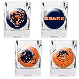 NFL Chicago Bears Four Piece Square Shot Glass Set (Individual Logos)