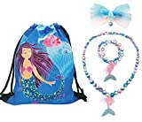 Mermaid 4 Pack Gifts for Girls - Mermaid Drawstring Backpack, Necklace, Hair Bow (Mermaid Girl 2)
