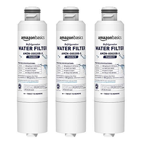 Refrigerator Filter Replacement Cartridge - AmazonBasics Replacement Samsung DA29-00020B Refrigerator Water Filter Cartridge - Pack of 3, Standard Filtration