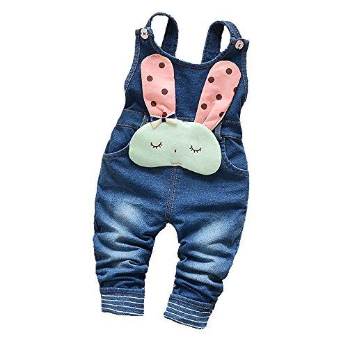 Kidscool Baby Cotton Denim Cute 3D Rabbit Decoration Soft Overalls