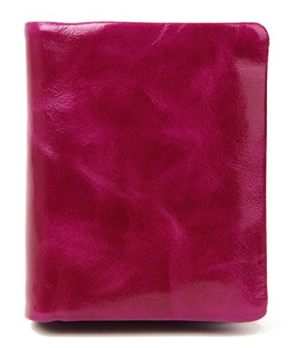 AINIMOER Women's Mini Compact Genuine Leather Trifold Small Wallet with Zipper Pocket(Purple Red)