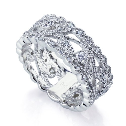 Sterling Silver Rhodium Plated, Engagement CZ Set Vintage Style Ring Wedding Band 8mm ( Size 5 to 9), 8 by Double Accent (Image #4)
