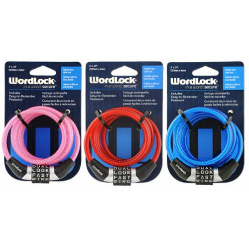 Word lock Inc CL-458-AS Flexible Steel 4 Dial Cable Lock, 4'