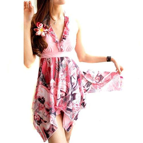 Tai523 Women Halter Tankini Swimsuit Retro Beach Swimdress Plus Size Swimwear M-5xl (XXXXL, Pink)