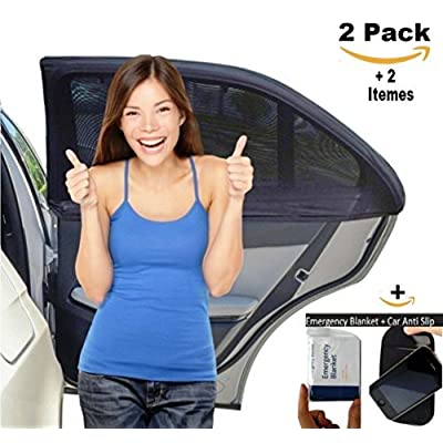 Car Window Shade for Baby Car Sun Shade Breathable Mesh Protect The Kid from Sun and Insects Universal Fit Comes W/Free Emergency Blanket Sticky Mat - Set of 2 by ISMARTSHIELD: Baby