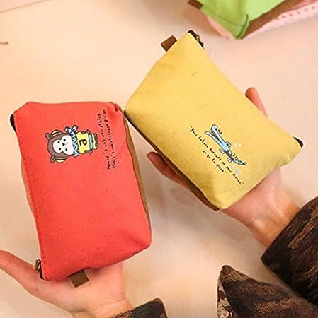 Hosaire Porte-Monnaie Petit Pochette en Toile Solid Couleur Sac Rangement pour Serviettes Hygi/éniques Style Animal Mignonne Sac Organisateur Voyage Marron