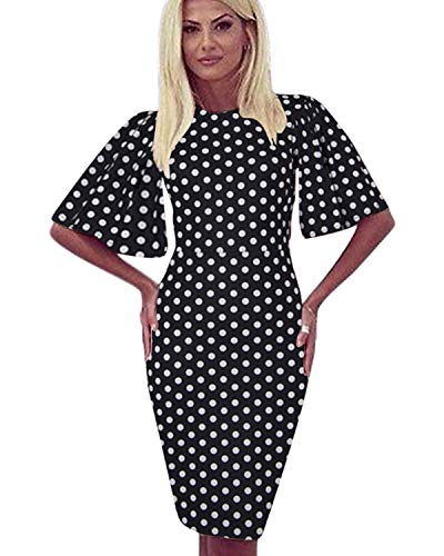 (Zshujun 1950's Women's Vintage Stretchy Work Casual Bodycon Sheath Pencil Dress 1189 (Black dot,)