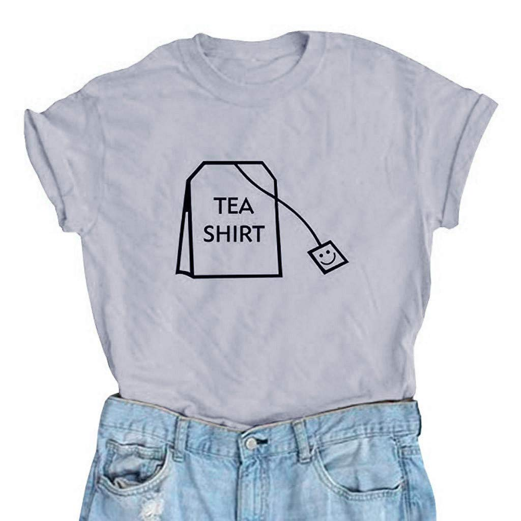 Malbaba Women Girl Funny Short Sleeve Cotton Shirts Cute Junior Graphic Tee Top Blouse Gray