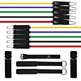 UPOWEX Resistance Band Set – Include 5 Stackable Exercise Bands with Door Anchor Attachment Legs Ankle Straps & Carry Bag