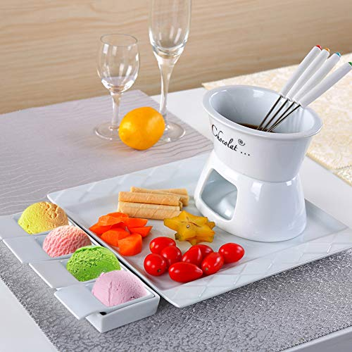 Cheese Fondue Set, Ceramic Ice Cream Hot Pot, Include 4 Forks, Ideal For Chocolate, Ice Cream