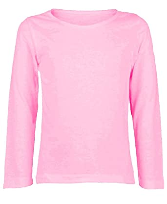 55693d374 ZET New Girls Plain Long Sleeve Kids Top Children Crew Neck T-Shirt School  Summer T-Shirt Age 2-13 Year: Amazon.co.uk: Clothing