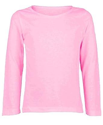 ZET New Girls Plain Long Sleeve Kids Top Children Crew Neck T-Shirt School  Summer 3f007daad35