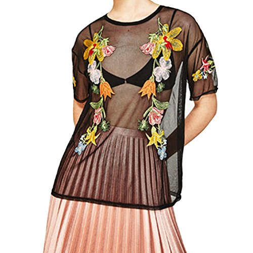 Aisa Women's Sexy Perspective Tops Vintage Applique Embroidered Sheer Mesh T-Shirts Black L ()