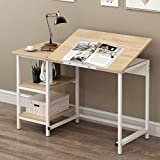 CherryTree Furniture Computer Desk Drawing Drafting Table with Tilt Top & Shelves (Natural)