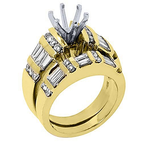 14k Yellow Gold Baguette Round Diamond Engagement Ring Semi Mount Set 2.2 Carats