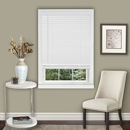 Better Home Amanecer Collection Cordless Vinyl 1-Inch Light Filtering Mini Blind- Pearl White – 33″ x 64″ (Actual Measurement 32.5″ x 64″)