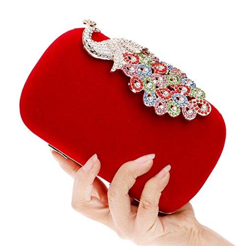 Clutch Diamond KERVINFENDRIYUN Fashion Banquet Blue Evening Purse Peacock Ladies Red Bag Color Bag HUq8pU
