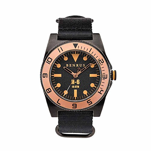 BENRUS Men's BR012-E H-6 Watch with Black Nylon Strap